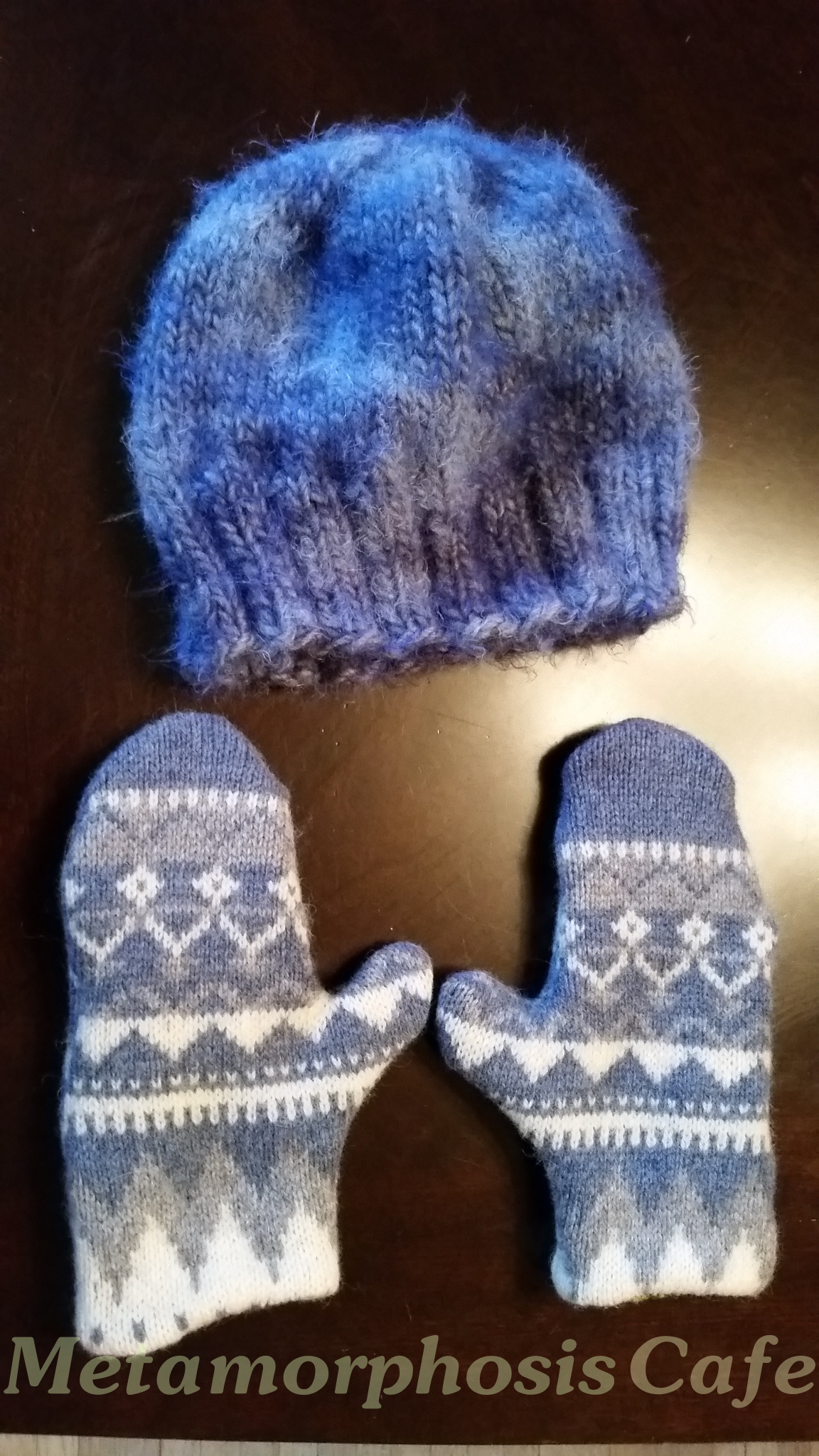 finished sweater mitten